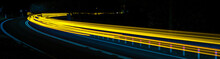 Abstract Blue And Yellow Car Lights At Night
