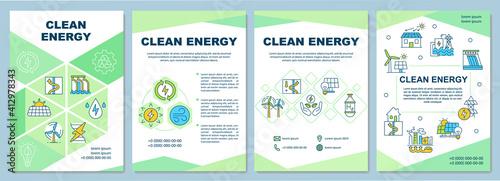 Obraz na płótnie Clean energy producing brochure template