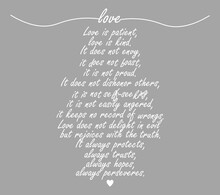 Love Print, Love Is Patient Printable, 1 Corinthians 13:4-8, Bible Verse Wall Art, Scripture Print For Christian, Family Gift Home Decor, Modern Poster Design, Cute Card, Vector Illustration