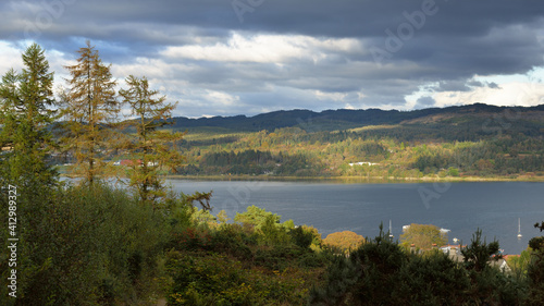 Fototapety, obrazy: Rocky shores, cliffs, mountain peaks,woodland and hills of Crinan, panoramic aerial view. Ardrishaig, Argyll and Bute, Scotland, UK. Autumn landscape. Dramatic sky. Travel destinations, tourism