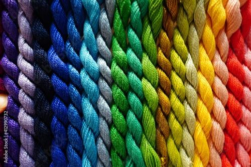 Fotografie, Obraz Full Frame Shot Of Multi Colored Wool