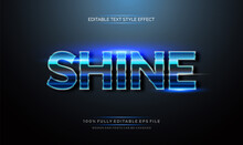 Shine Bright Blue Color. Modern Editable Text Style Effect.