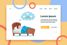 Little Boy Lying In Bed And Counting Sheep. Dream, Kid, Sleeping Flat Vector Illustration. Lifestyle And Childhood Concept For Banner, Website Design Or Landing Web Page