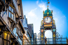 Eastgate Clock Of Chester, A City In Northwest England,  Known For Its Extensive Roman Walls Made Of Local Red Sandstone