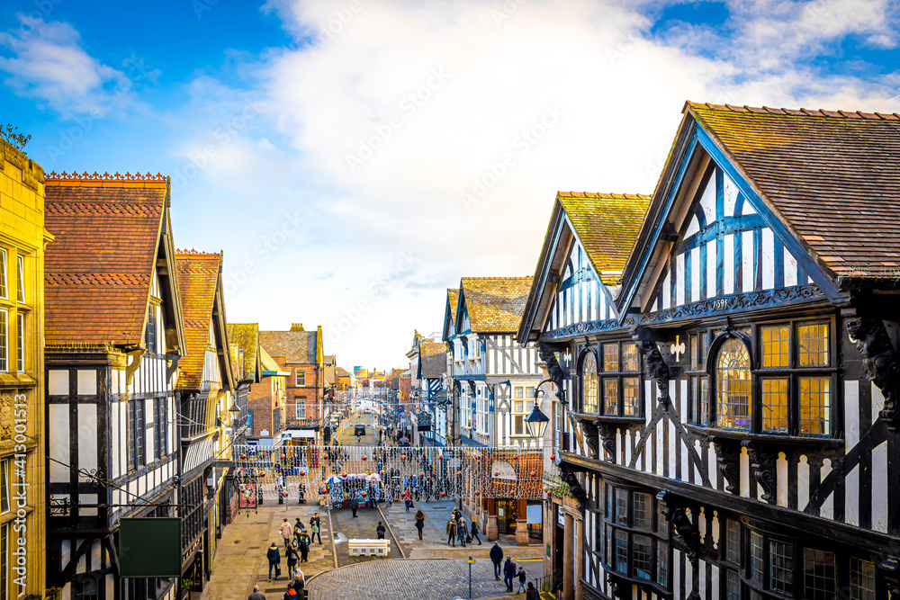 Fototapeta Old houses of Chester, a city in northwest England,  known for its extensive Roman walls made of local red sandstone