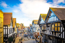 Old Houses Of Chester, A City In Northwest England,  Known For Its Extensive Roman Walls Made Of Local Red Sandstone