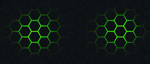 Black Hexagon And Green Light Abstract Background