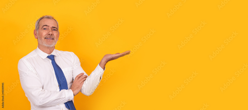 Fototapeta isolated business man with tie pointing on background