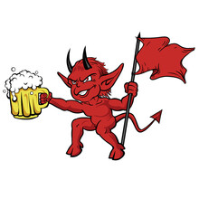 Red Devil With A Beer Mug And A Red Flag On Hands.