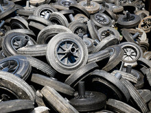 Full Frame Shot Of Tires At Junkyard