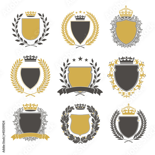 Fototapeta Collection of the Different black and gold silhouette shields, wreaths and crowns depicting an award, achievement, heraldry, nobility. obraz