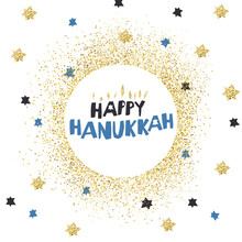 Happy Hanukkah Greetings. Blue Typography On White Circle With Golden Particles. Menorah Symbol With Golden Lights. Background With Magen David Stars.