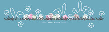 Easter Line Design White Bunny And Flowers Colorful Eggs In Grass Easter Egg Hunt Spring Color Palette 2021 Greeting Card