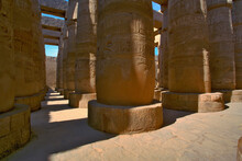 Massive Columns At The Great Hypostyle Hall, In The Temple Of Amun, The Temple Of Karnak In Modern Day Luxor Or Ancient Thebes. Widely Considered The Largest Temple Complex Every Built By Man.
