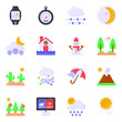 Pack of Weather Forecast Flat Icons