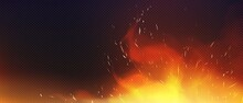 Realistic Fire With Sparkles And Smoke Transparent Png Background Illustration