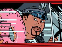 A Cop In A Car With A Doughnut