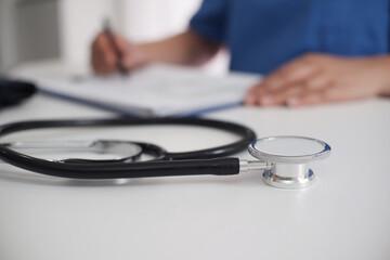 Close-up Of Stethoscope On Desk