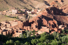 Morocco, Dades Gorge Near Tinerhir. A Small Village Along The Dades Gorge Road Blends In With The Surrounding Mountains.