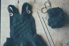 Directly Above Of Knitted Baby Clothing