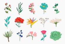 Collection Of Spring And Summer Flowers Peony, Chamomile, Rose, Sakura, Magnolia, Leaves, Romantic Floral Elements.