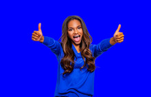 Portrait Of An Excited Black Woman Showing Ok Sign, Two Thumbs Up Cool, Isolated Over Color Background