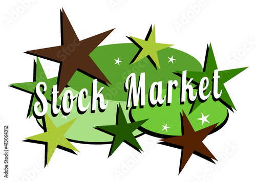 Stock market and Wall street mid-century modern label #413064312