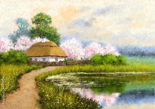 Fototapeta Oil paintings rural landscape, spring landscape with flowers