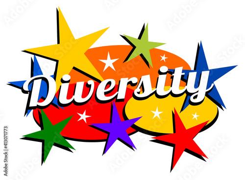 Mid-century modern diversity label #413071773