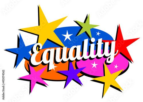 Retro mid-century modern equality label #413074562