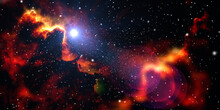 Space Nebula Cloud With Sunlight Galaxy Background. Astronomy Cloud Fractal Dust With Cloud Background