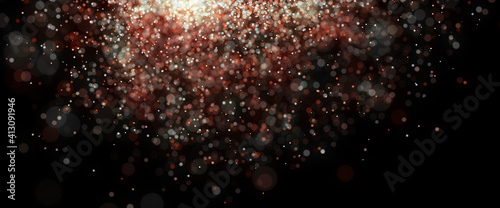 Bokeh Abstract shiny light and glitter with de focused. Glitter light background, Gold, White, Blue bokeh glitter sparkle background. Bokeh light effect creative background.