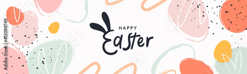 Obraz Happy Easter banner. Trendy Easter design with typography, hand painted strokes and dots, eggs, bunny ears, in pastel colors. Modern minimal style. Horizontal poster, greeting card, header for website - fototapety do salonu