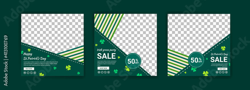 Obraz Collections of social media post templates for St.Patrick's Day, sales promotions on St. Patrick's day and have a lucky day. - fototapety do salonu