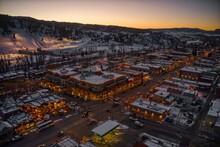 Aerial View Of The Colorado Ski Town Of Steamboat Springs During Winter