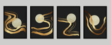 Luxury Gold Wallpaper.  Black And Golden Background. Mountain Wall Art Design With Dark Blue And Green Color, Shiny Golden Light Texture. Modern Art Mural Wallpaper. Vector Illustration.