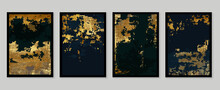 Luxury Gold Wallpaper.  Black And Golden Background. Grunge Wall Art Design With Dark Blue And Green Color, Shiny Golden Light Texture. Modern Art Mural Wallpaper. Vector Illustration.