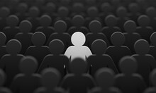 White Color Figurine Among Crowd Black People Background. Social Lifestyle And Business Competition And Strange Person Concept. Human Character Symbol Theme. 3D Illustration Rendering.