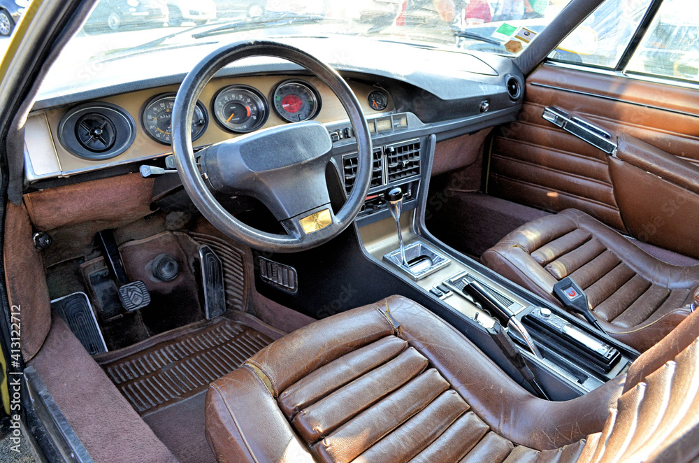 Fototapeta Interior Of Old Vintage Car