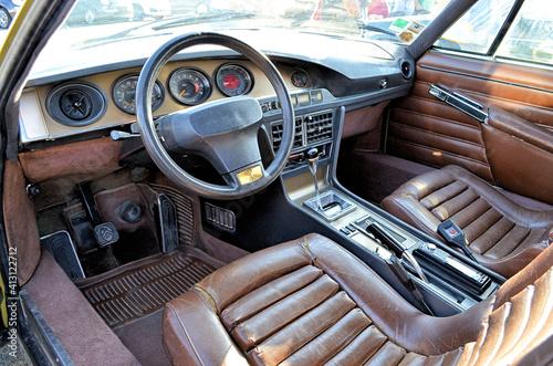 Fototapeta Interior Of Old Vintage Car obraz