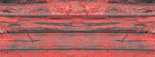 Banner Old Painted Wooden Red Background.