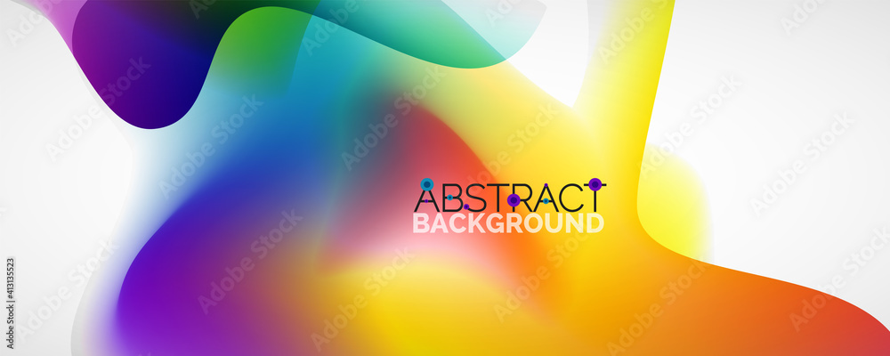 Fototapeta Fluid color gradient abstract background, trendy colorful wallpaper. Vector illustration for placards, brochures, posters, banners and covers