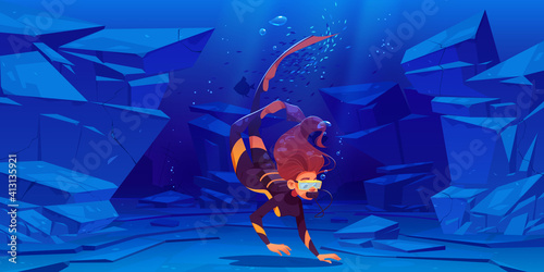 Fototapeta Woman scuba diver with mask swim under water in sea or ocean
