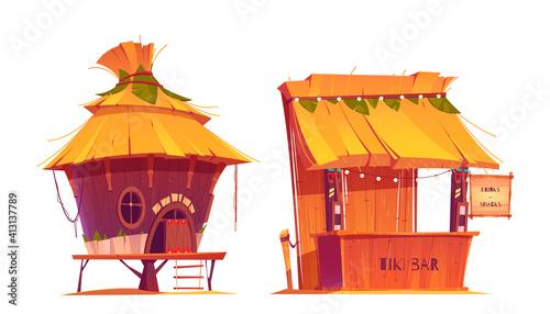Obraz na płótnie Tiki hut bar, hawaii beach wooden construction with hay roof and bamboo menu, tr