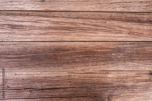 Fototapeta Natural wood grain texture, brown, cracked and old. obraz na płótnie