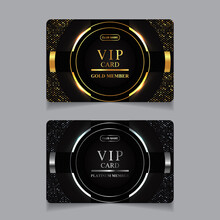 Vector VIP Golden And Platinum Card. Black Geometric Pattern Background With Premium Design. Luxury And Elegant Graphic Template Layout For Vip Member.