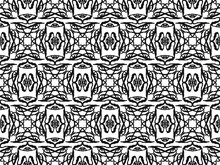 A Weird Black And White Repeating Pattern With Geometric Elements And Strange Shapes, Vector Illustration