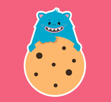 Isolated Vector Illustration For Bakery And Candy Shop, Mascot Cookie Monster, Logo