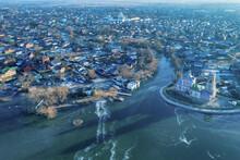 Aerial View Of Church Of The Forty Martyrs And Frozen Lake Pleshcheyevo. Pereslavl-Zalessky, Yaroslavl Oblast, Russia.