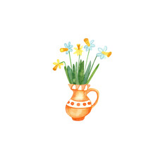 Watercolor Hand Painted Bouquet Of Daffodils  In An Orange Jug. Nice Spring Flowers, Bright Colors. Great Illustration For Easter Greeting Cards, Home Posters.